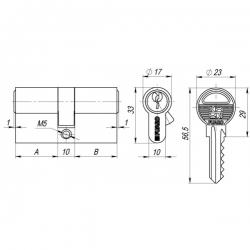 Цилиндровый механизм Fuaro (Фуаро) 100 ZA 80 mm (35+10+35) CP хром 5 кл.