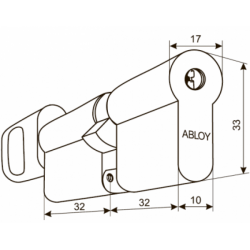 Abloy CY323 T Цилиндр с поворотной кнопкой (хром)
