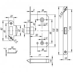 Безшумная врезная защелка Fuaro (Фуаро) PLASTIC P96WC-50 CP хром