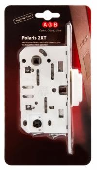 Замок межкомнатный магнитный AGB MEDIANA POLARIS  WC + отв.планка (белый) B06102.50.91.567 (=B04102.B05102)