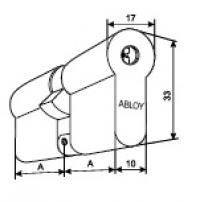 Abloy CY322 U. Двойной цилиндр (хром)