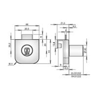 ABLOY®OF222С Врезной замок для офисной мебели с прямым ригелем