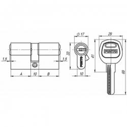 Цилиндровый механизм Punto (Пунто) A200/60 mm (25+10+25) SN мат. никель 5 кл.