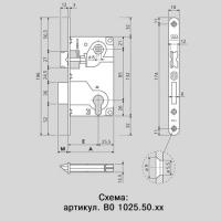 B01025.50.12 Замок межкомнатный под цилиндрический механизм 1ригель+защёлка (античная бронза)