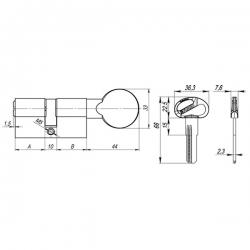 Цилиндровый механизм Fuaro (Фуаро) D-PRO502/120 mm (55+10+55) CP хром 5 кл.