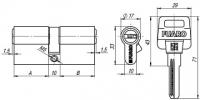 Цилиндровый механизм D500/60 mm (25+10+25) PB латунь 5 кл.