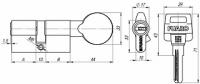 Цилиндровый механизм с вертушкой D502/70 mm (30+10+30) CP хром 5 кл.