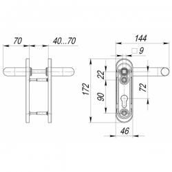 Ручка дверная DH-0431 NE (ЧЕРНАЯ)  для замка (FL-0432, 0433, 0434), НЕЙЛОН