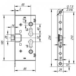 Замок для противопожарных дверей с раздельным квадратом FL-0433 ANTI-PANIC