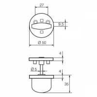 Поворотная кнопка LH007 WC Ms/HA (латунь матовая)