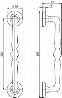 Ручка-скоба Fuaro (Фуаро) PALAZZO PULL SM AB-7 матовая бронза (1 штука)