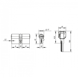 Цилиндровый Punto (Пунто) механизм Z400/70 mm (25+10+35) CP хром 5 кл.